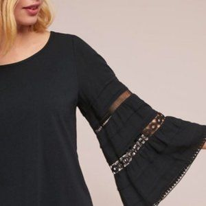 Anthropologie Southern Eyelet Crochet Bell Sleeve